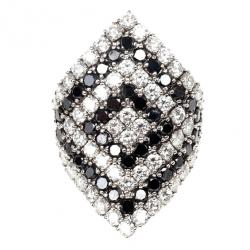 Damiani Black and White Diamond Rhombus Shape Ring Size 55