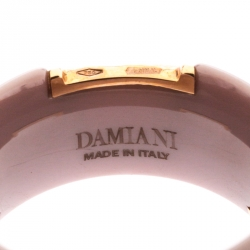 Damiani D.Icon Cappuccino Ceramic 18K Rose Gold Band Ring Size 56
