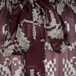 D&G Burgundy Printed Silk Chiffon Off Shoulder Sheer Peasant Blouse M
