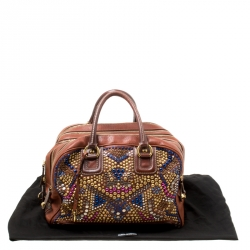 Dolce and Gabbana Brown Leather Embellished Lily Satchel