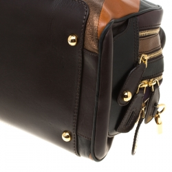 D&G Multicolor Leather and Suede Studded Lily Satchel