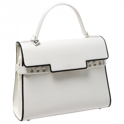 Delvaux White Leather Tempete MM Top Handle Bag