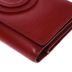 Delvaux Red Leather Tri Fold Continental Wallet