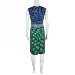Diane Von Furstenberg Green and Blue Dot Printed Silk Jersey Evita Shift Dress M