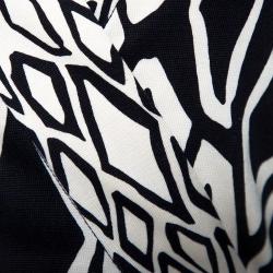 Diane von Furstenberg Monochrome Printed Silk Banded Julian Long Wrap Dress S