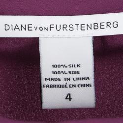 Diane Von Furstenberg Purple Silk Long Sleeve Florane Blouse S