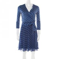 Diane Von Furstenberg Blue Printed Silk Irina Wrap Dress S