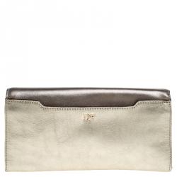 Diane Von Furstenberg Metallic Multicolor Leather Clutch