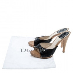 Dior Black Leather Open Toe Wooden Mules Size 37.5