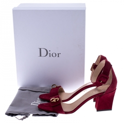 Dior Red Suede C'est Open Toe Ankle Strap Sandals Size 39.5