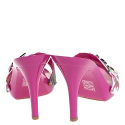 Dior Multicolor Printed Cotton Logo Embellished Slide Clogs Size 38.5