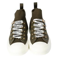 Dior Military Green Technical Knit and Leather Walk'n'Dior High-Top Sneakers Size 37
