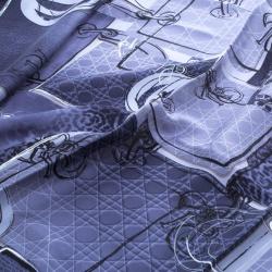 Dior Navy Blue Bag Print Silk Square Scarf
