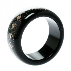 Dior Black Cannage Pattern Wide Bangle Bracelet