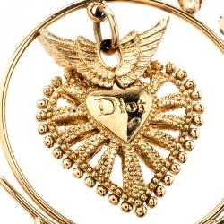 Dior Heart Wings Filigree Gold Tone Long Dangle Earrings