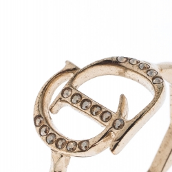 Dior Gold Tone Crystal Embedded Logo Ring Size 55
