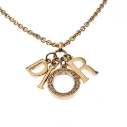 Dior Letter Charm Crystal Gold Tone Pendant Necklace