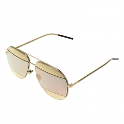 Dior Gold/Black Pink Mirrored 0000J Split1 Aviator Sunglasses