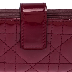 Dior Red Cannage Patent Leather Gusset Card Holder