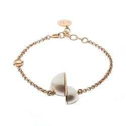 Dior CD Half Faux Pearl Gold Tone Bracelet