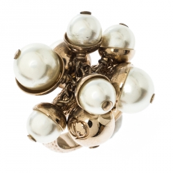 Dior Mise en Dior Faux Pearl Gold Tone Ring Size 56