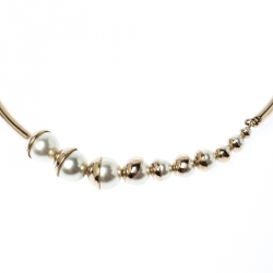 Dior Mise En Dior Faux Pearl Gold Tone Magnetic Detachable Choker Necklace