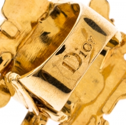 Dior Gold Tone Smoky Quartz Crystal Cocktail Ring 58