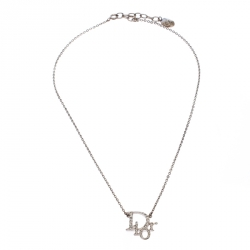 Dior Silver Tone Crystal Accented Logo Pendant Necklace