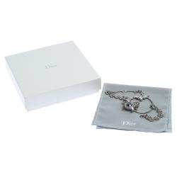 Dior Silver Tone Crystal Embellished Swallow Charm Bracelet