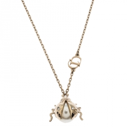 Dior Crystal Faux Pearl Lady Bug Gold Tone Pendant Necklace