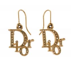 Dior Gold Tone Crystal Embellished Logo Hoop Earrings