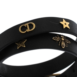 Dior Black Leather Gold Tone Motif Double Wrap Bracelet