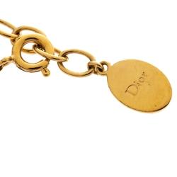 Dior Crystal Heart Star Charm Gold Tone Bracelet