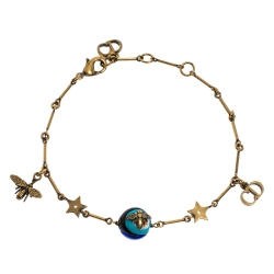 Dior Antique Gold Tone Logo and Bee Charm Multicolor Bead Bracelet