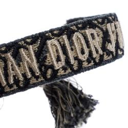 Dior J'adior Navy Blue Cotton Embroidered Dior Oblique Set of Two Bracelets