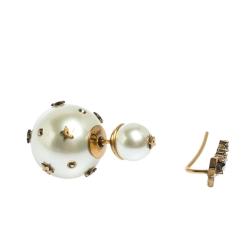 Dior Tribales Cream Bead & Shooting Star Crystal Asymmetric Earrings