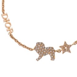 Dior Crystal Diorable Lion Rose Gold Tone Chain Link Bracelet