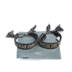 Dior J'adior Navy Blue Cotton with Oblique Motif Set of Two Bracelets