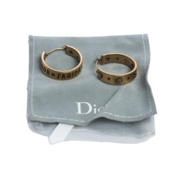 Dior J'Adior Asymmetric Patterned Gold Tone Hoop Earrings