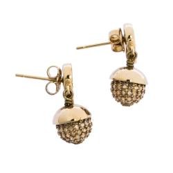 Dior Mise en Dior Crystal Embellished Gold Tone Drop Earrings