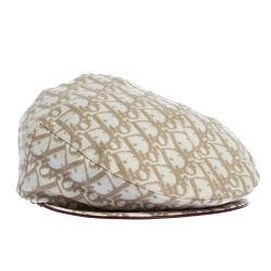 Dior Beige Charms Trim Diorissimo Paper Boy Beret Hat