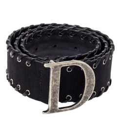 Dior Black Nylon Whip Stitch Detail Belt Size 80CM
