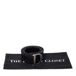 Dior Black Nylon Whip Stitch Detail Belt Size 80CM