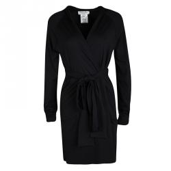 Dior Black Embroidered Hooded Wrap Long Jacket M
