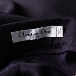 Dior Indigo Draped Wool Asymmetric Midi Skirt L