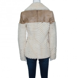Dior Brown and Off White Mink and Calfskin Paneled Jacket M