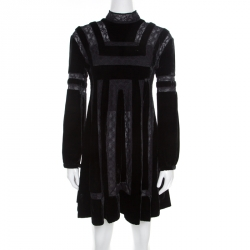 Dior Black Velvet and Lace Paneled Mini Dress M