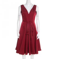 Dior Red Wool and Silk V Neck Tassel Belt Detail Sleeveless Flared Dress M