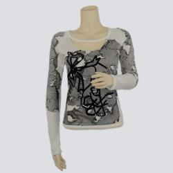 Christian Dior Black and White Long Sleeve Cut-out T-Shirt S