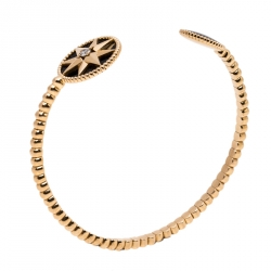 Dior Rose Des Vents Diamond Onyx 18K Rose Gold Open Cuff Bracelet
